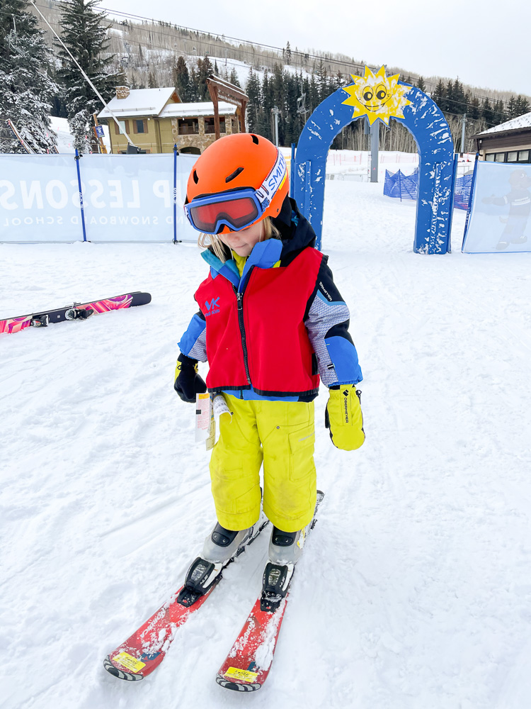 toddler at ski school vail