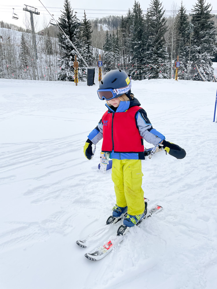 four year old skiing at ski school vail
