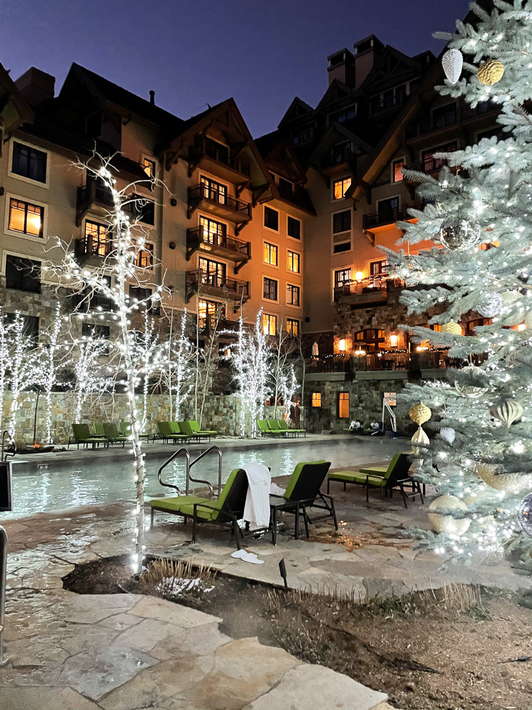 view of four seasons vail from hot tub