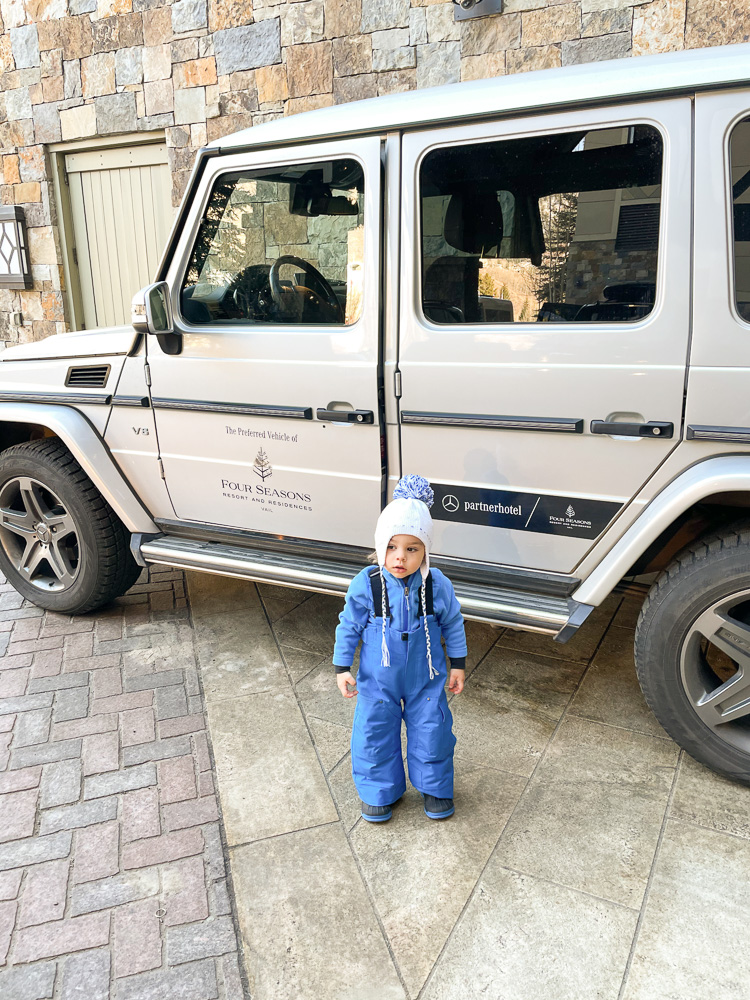 mercedes house car and toddler boy at four seasons vail