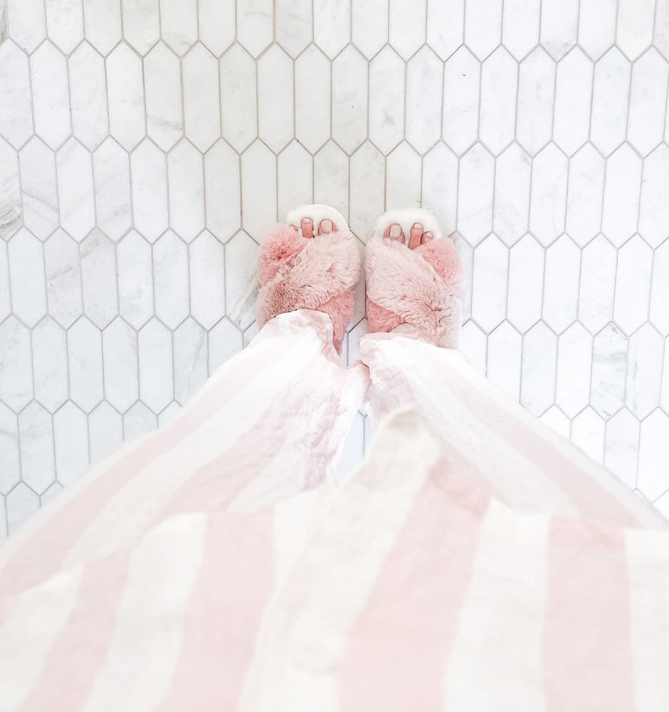 pink striped pajamas furry pink slippers