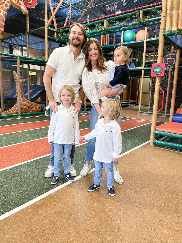 mom and dad with three preschool boys