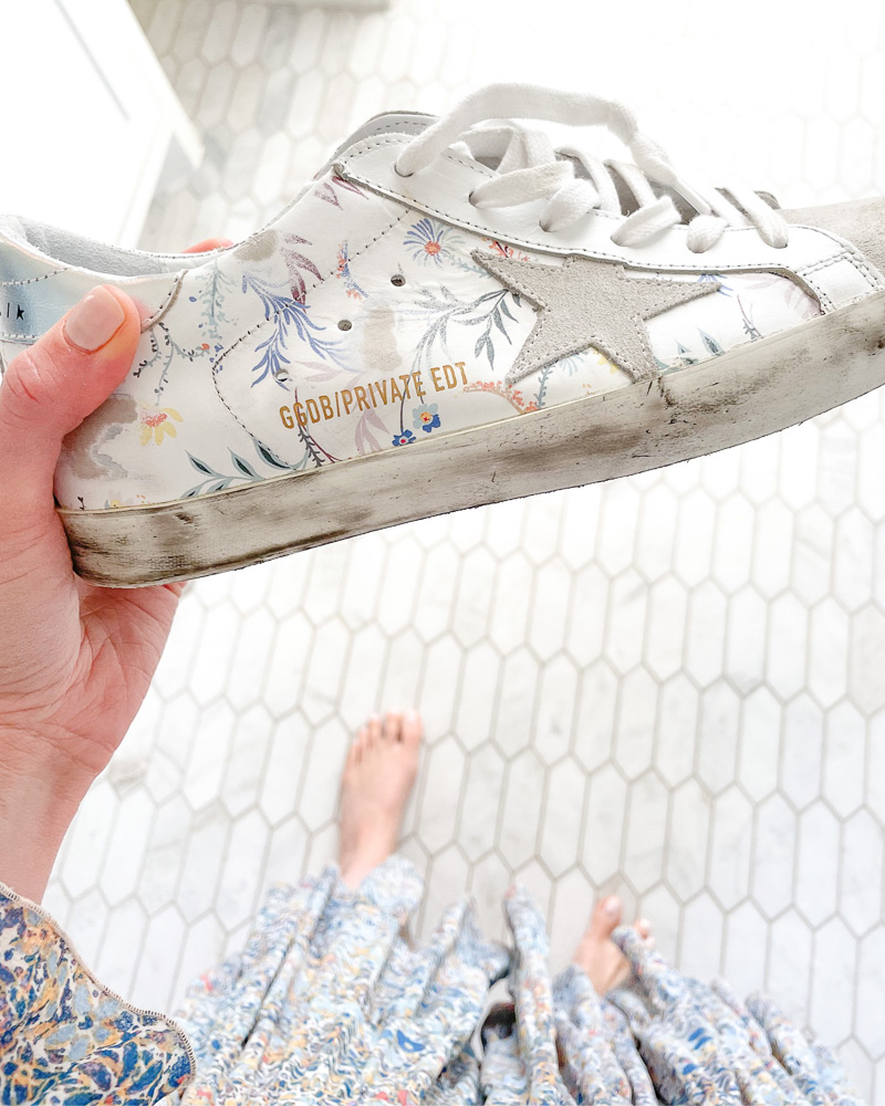 floral golden goose sneakers