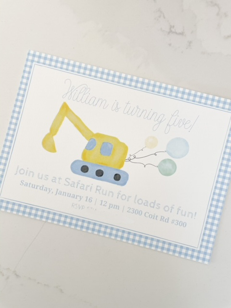 birthday invitation for construction theme birthday