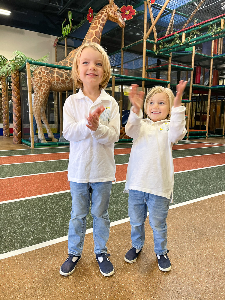 pre-schooler brothers at safari theme play place