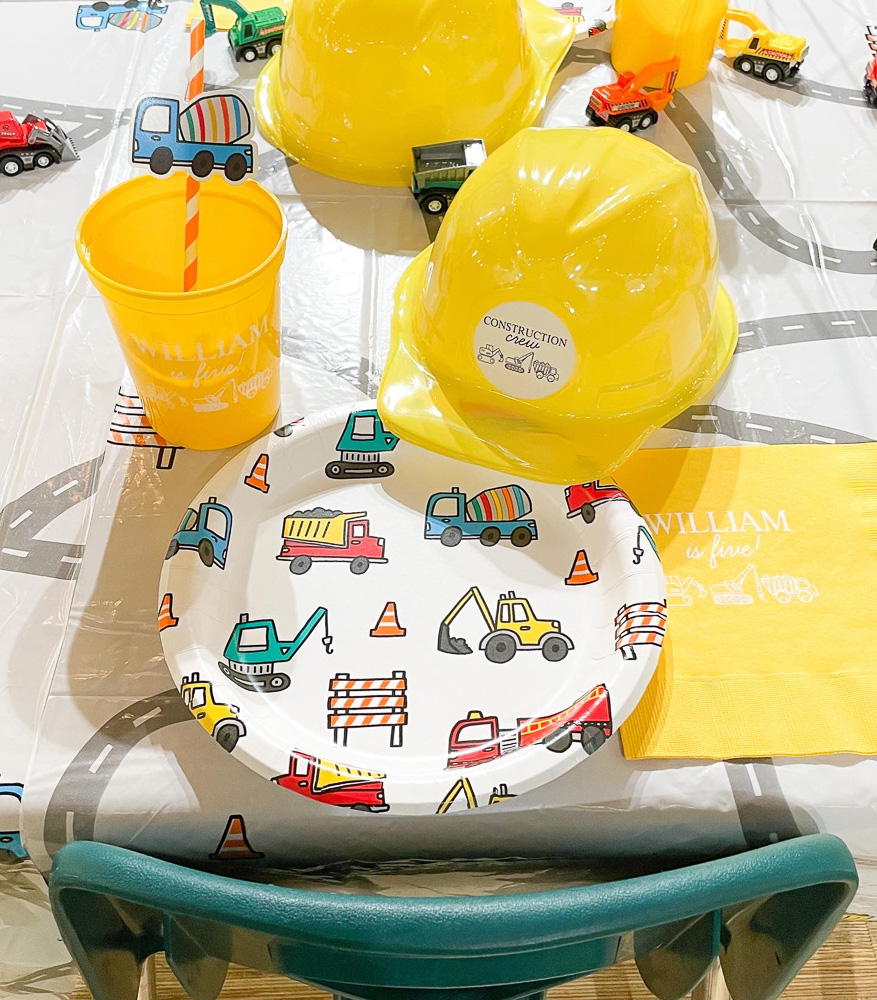 cup plate table cloth and hard hat for construction theme birthday party