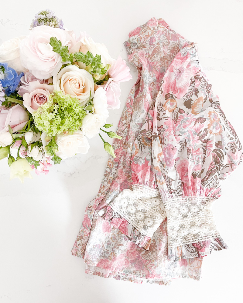 floral blouse with floral bouquet