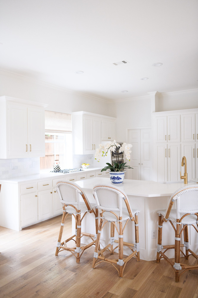 remodeled kitchen with bistro style counter stools