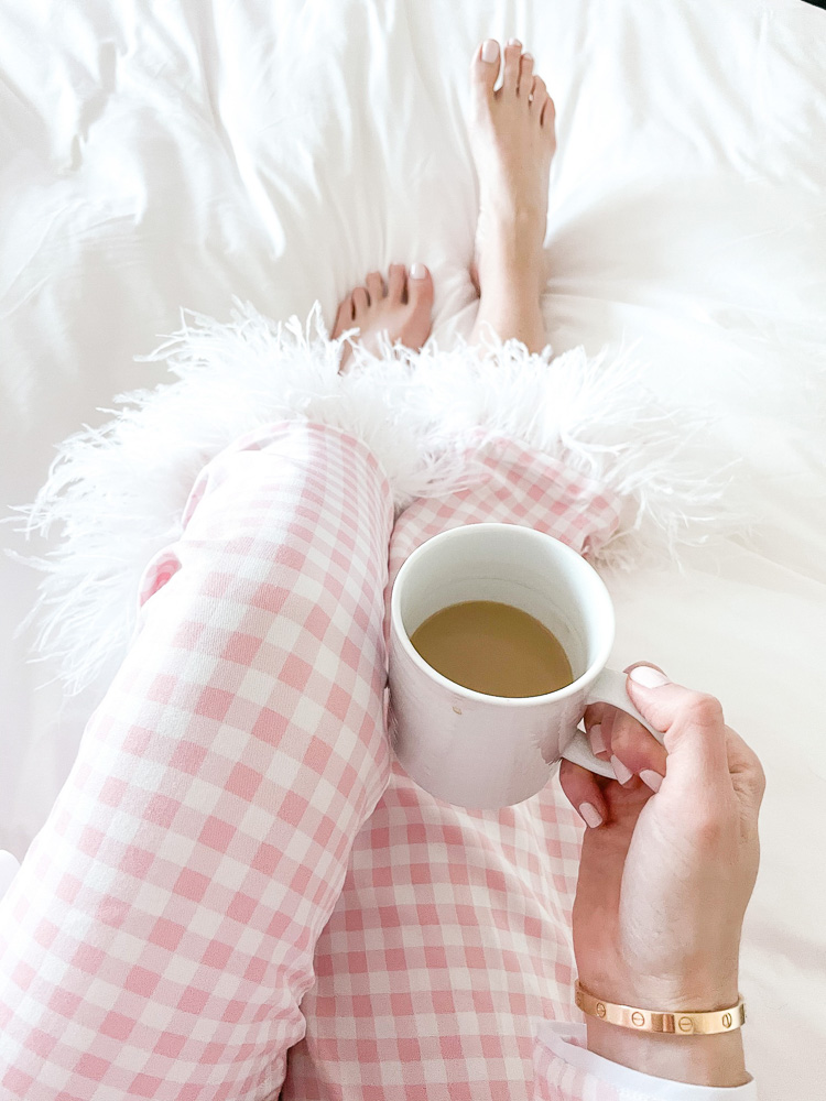 pink gingham pajamas with coffee