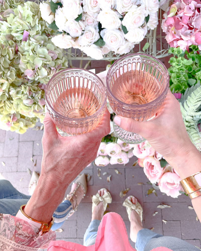 toasting with rosé and pretty flowers