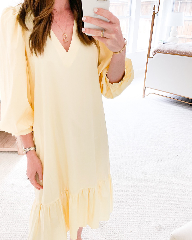 yellow ruffle hem maxi dress