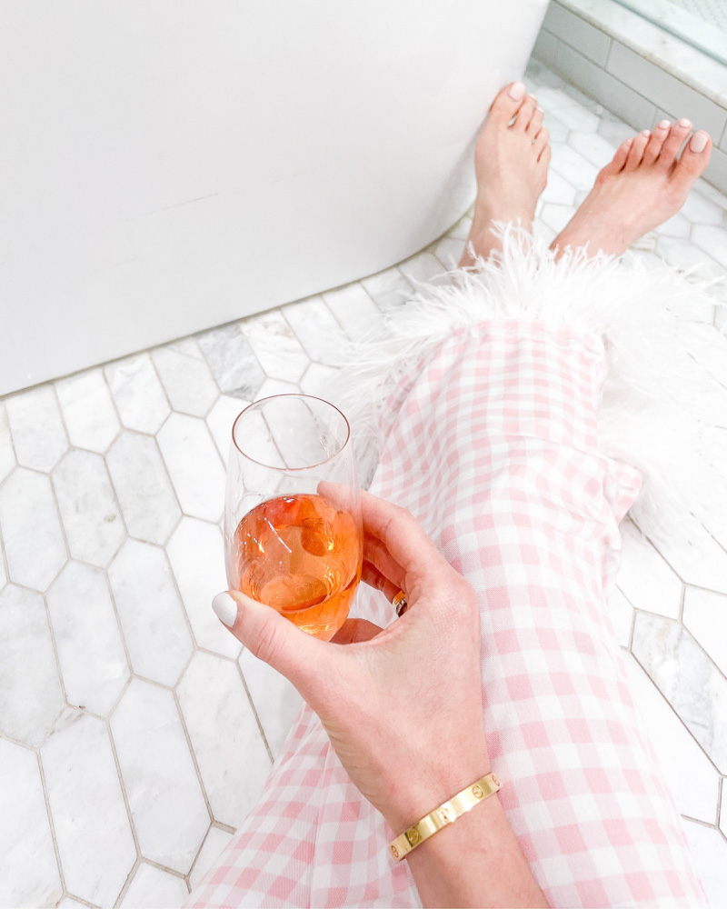 rosé champagne gingham pajamas feather hem