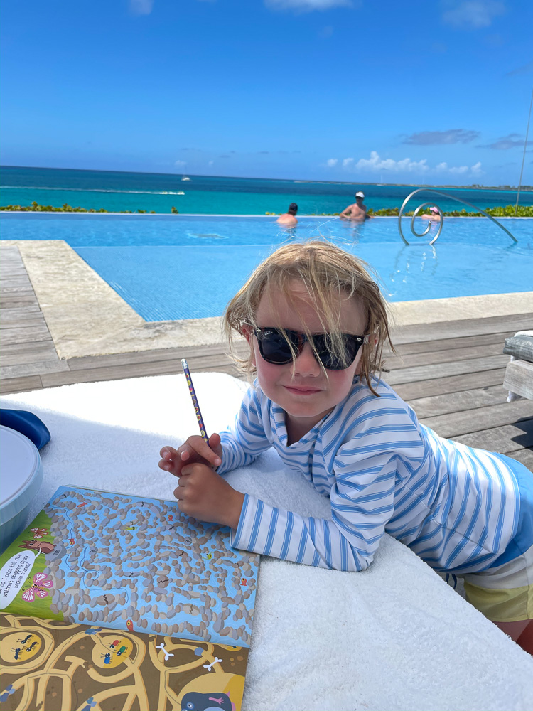 toddler boy by pool