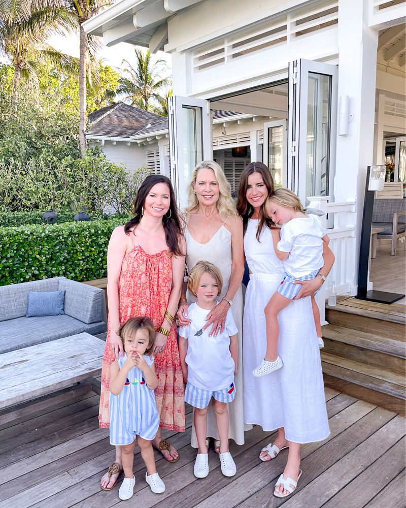 three women with three toddler boys
