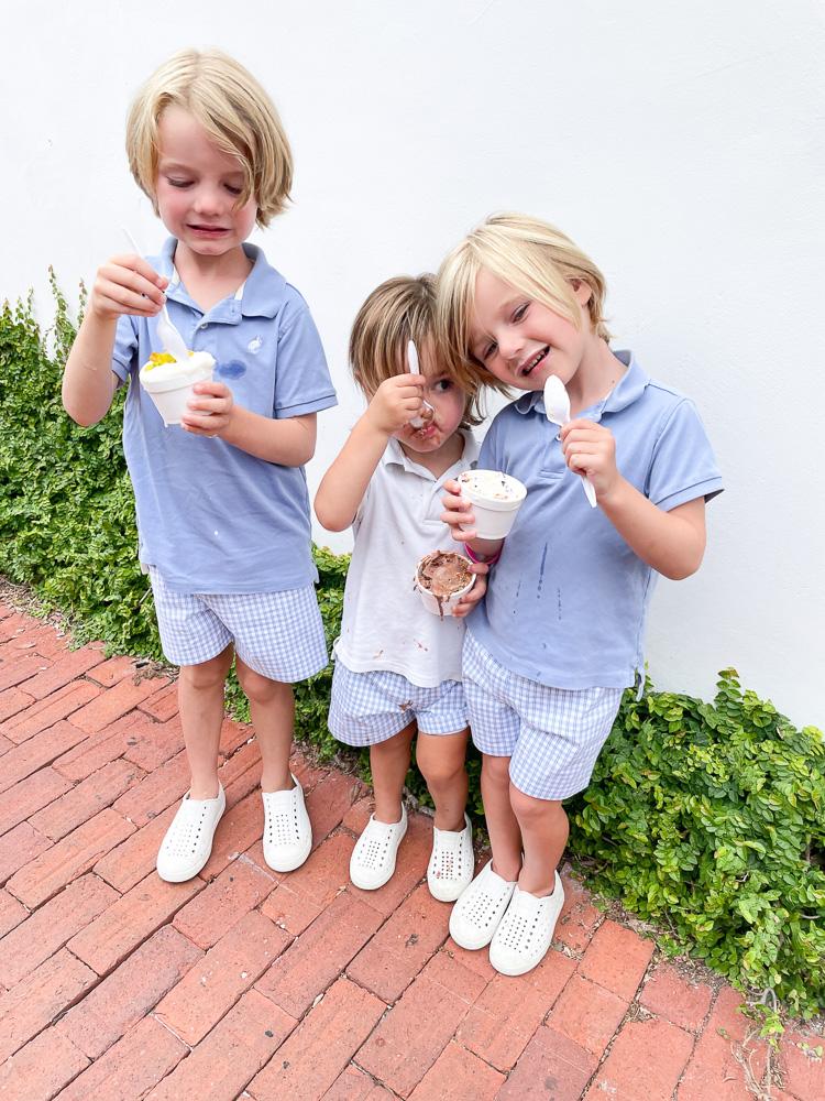 three little brothers eating ice cream