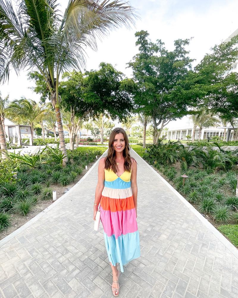 woman in color block maxi dress