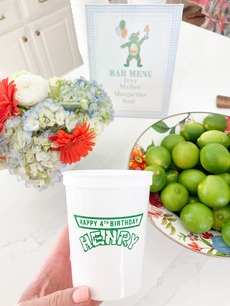 custom henry plastic cups bowl of limes and orange and blue florals