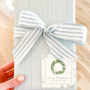 blue and white christmas gift wrap