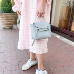 celine nano belt bag pink gingham midi dress
