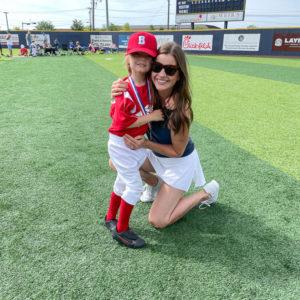 mom athletic skirt boy baseball uniform